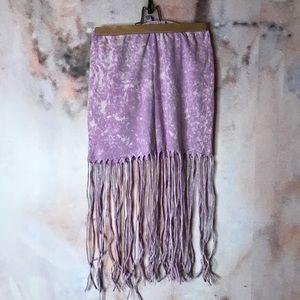 Lilac Acid Wash Fringe Skirt